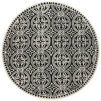 Safavieh Handmade Cambridge Moroccan Black/ Ivory Rug - 4' Round