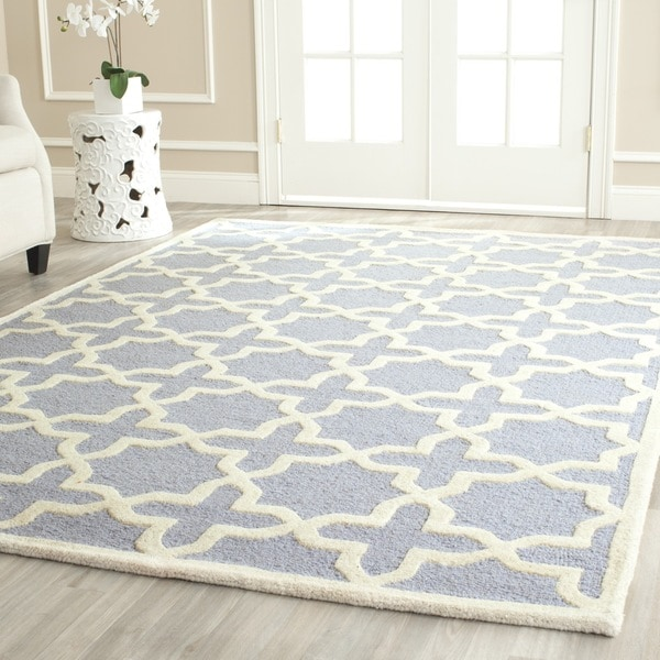 Safavieh Moroccan Blue And Black Area Rug: Safavieh Handmade Cambridge Moroccan Cross-Pattern Light
