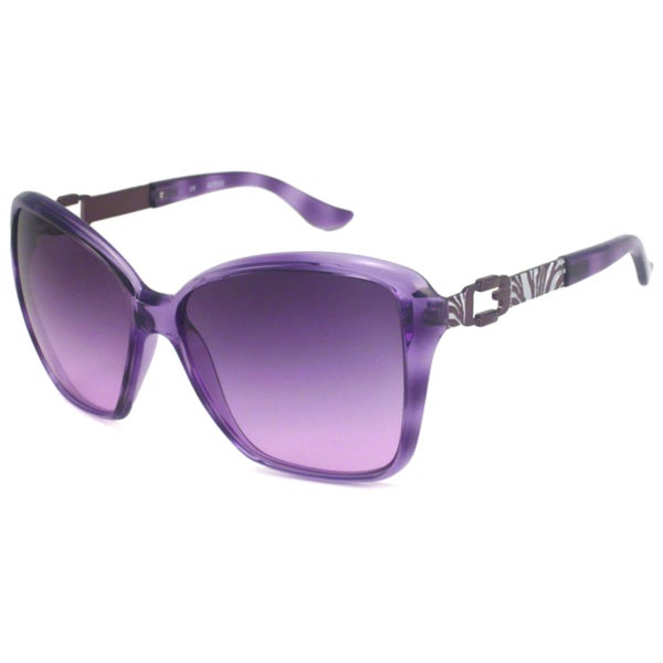 Guess Women's GU7039 Crystal Purple/Violet Gray Rectangular Sunglasses