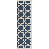 Safavieh Handmade Moroccan Cambridge Navy Wool Rug - 2'6 x 6'