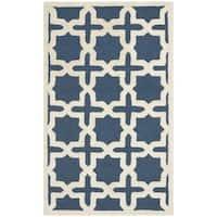 Safavieh Handmade Moroccan Cambridge Navy Wool Rug (2' x 3') - 2' x 3'