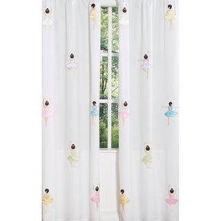 Sweet Jojo Designs Pink, White, Blue, Green, Brown, Purple and Yellow Ballerina 84-inch Window Treatment Curtain Panel Pair