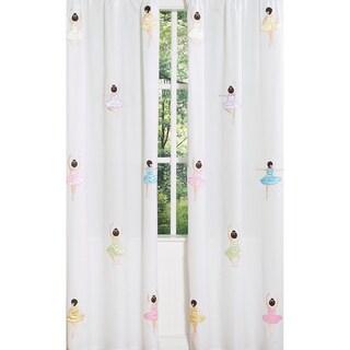 Sweet Jojo Designs Pink, White, Blue, Green, Brown, Purple and Yellow Ballerina 84-inch Window Treatment Curtain Panel Pair