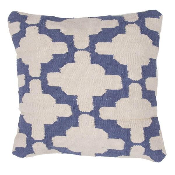 Contemporary Cotton Ivory/ Blue Square Pillows ( Set of 2 )