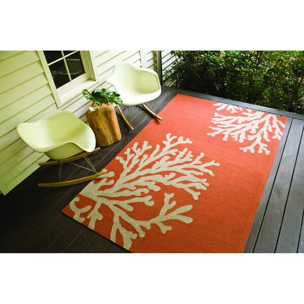 Hand-hooked Indoor/ Outdoor Abstract Easy-care Rug (5' X 7