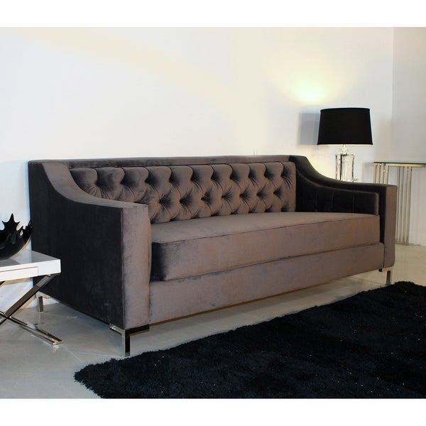 Decenni Custom Furniture 'Taglia' Cosmic Grey Velvet Tufted 6-foot Loveseat