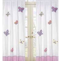 Sweet Jojo Designs Pink, Purple, Yellow, Sage Green and White Butterfly Collection 84-inch Window Treatment Curtain Panel Pair