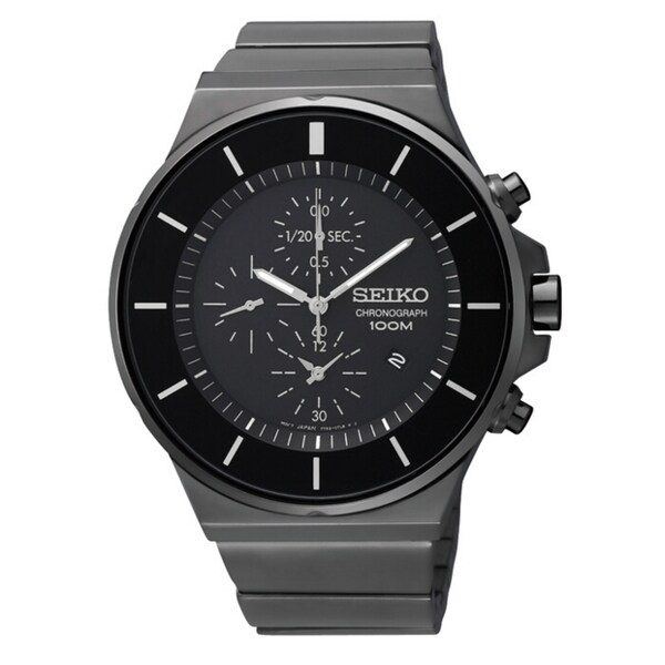Seiko Men's Chronograph Black Ion White Accent Watch