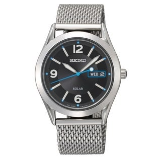 Seiko Men's SNE233 Solar Black Dial Blue Accent Mesh Bracelet Watch