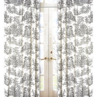 Sweet Jojo Designs Black and Cream 84-inch Window Treatment Curtain Panel Pair for Black French Toile Collection - 42 x 84