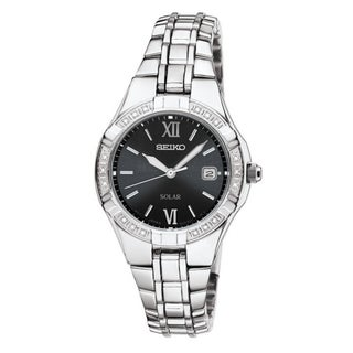 SEIKO Women's Solar Black Dial Stainless Steel Diamond Watch