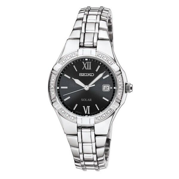 SEIKO Women's Solar Black Dial Stainless Steel Diamond Watch