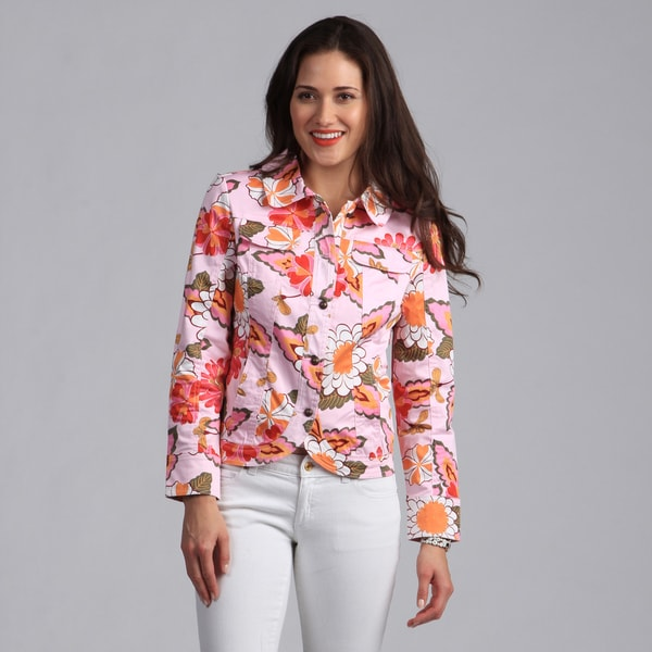 Live A Little Women's Pink Floral Printed Casual Jacket