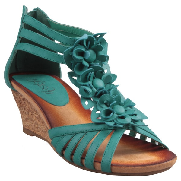 Refresh by Beston Women's 'Ginny-01' Turquoise T-Strap Wedge Sandals