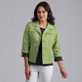 Live A Little Women's Green Button-front Lightweight Jacket