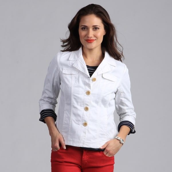 Live A Little Women&39s White 3/4 Sleeve Lightweight Jacket - Free