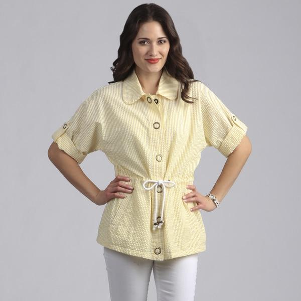 Live A Little Women's Yellow Lightweight Half Sleeve Jacket