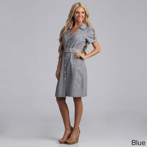 Live A Little Women's Belted Shirt Dress