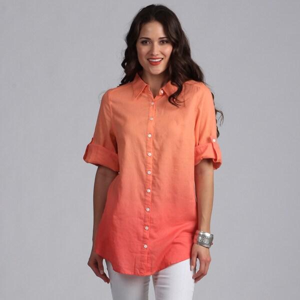 Live A Little Women's Coral Ombre Button-down Tunic