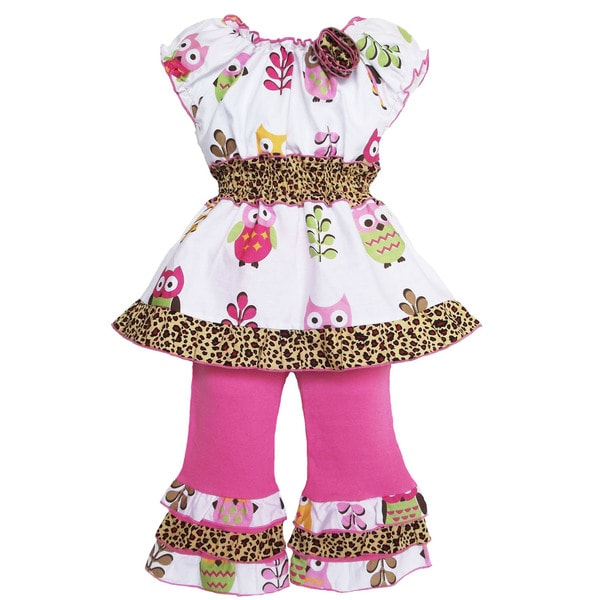 AnnLoren Girl's Owl and Leopard Print Tunic and Capri Set