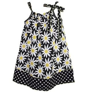 AnnLoren Girl's 'Daisy and Dots' Sleeveless Pillow Case Dress