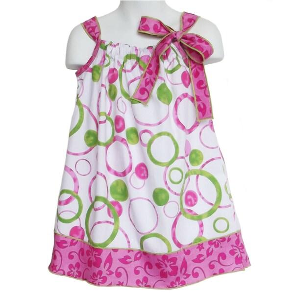 AnnLoren Girls 'Circles and Floral' Sleeveless Pillow Case Dress