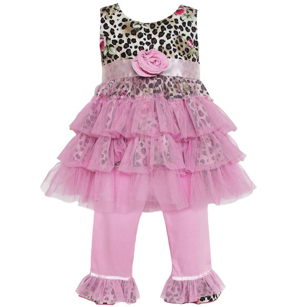 AnnLoren Girl's Leopard and Pink Tulle Top and Capri Pants Set