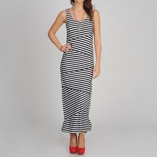 Sophia Christina Women's Black/ White Stripe Mermaid Tail Dress