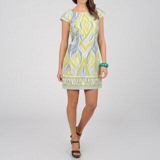 Women's Grey Geometric Print Sheath Dress