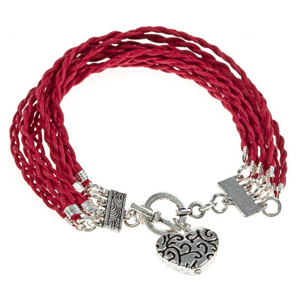 Braided Red Toggle Bracelet With Heart Charm (Guatemala)