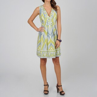 Women's Grey Geometric Print Sleeveless Dress