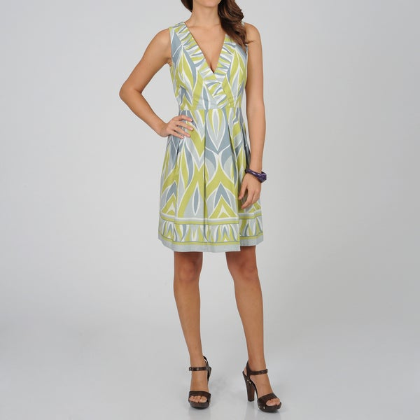 Women's Grey Geometric Print Sleeveless Dress