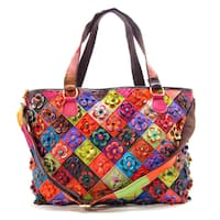 Ann Creek Women's 'Americana' Multicolored Checkmate Tote Bag