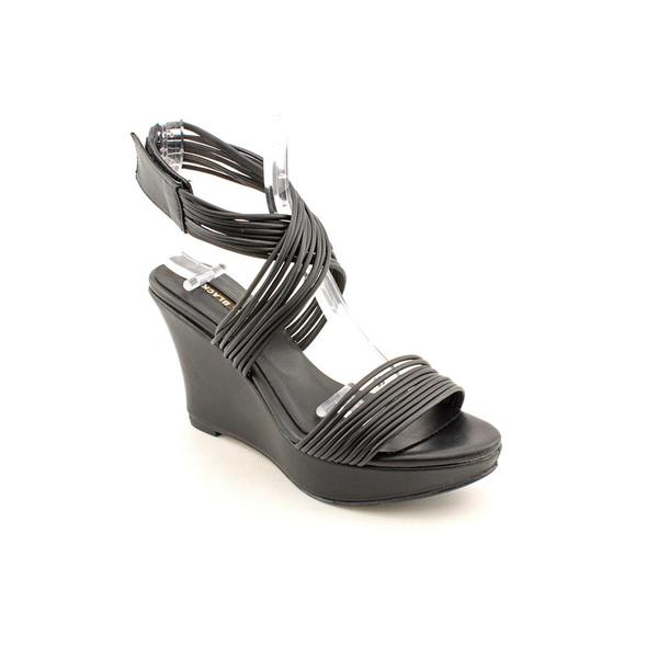 All Black Women's 'Wedge Wrap' Leather Sandals