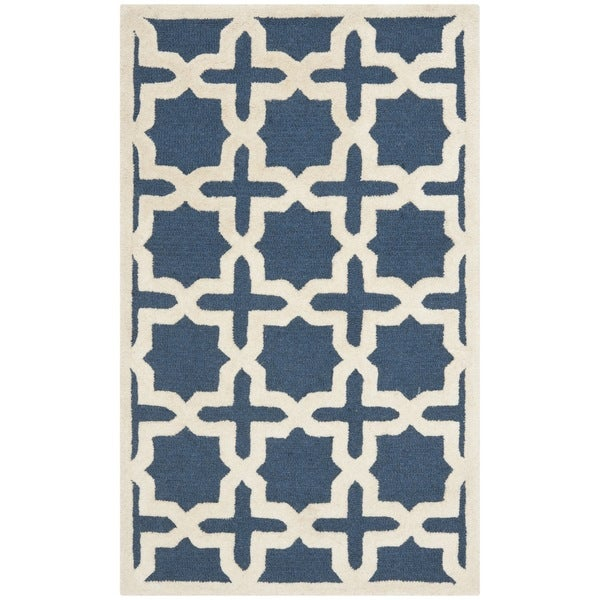 Safavieh Traditional Handmade Cambridge Moroccan Navy Wool Rug (3' x 5')
