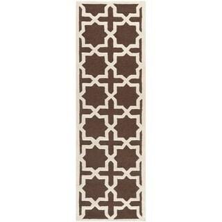 Safavieh Handmade Moroccan Cambridge Dark Brown Wool Rug (2'6 x 10')