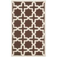 Safavieh Handmade Cambridge Moroccan Cross Pattern Dark Brown Wool Rug - 2' X 3'