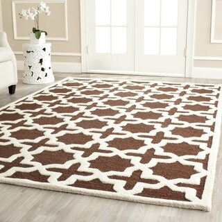 Contemporary Safavieh Handmade Cambridge Moroccan Dark Brown Wool Rug (8' x 10')