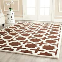 Contemporary Safavieh Handmade Cambridge Moroccan Dark Brown Wool Rug - 8' x 10'
