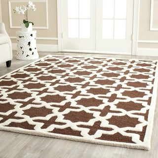 Contemporary Safavieh Handmade Cambridge Moroccan Dark Brown Wool Rug (9' x 12')