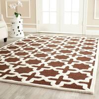 Contemporary Safavieh Handmade Cambridge Moroccan Dark Brown Wool Rug - 9' x 12'
