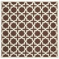 Safavieh Handmade Moroccan Cambridge Dark Brown Wool Rug - 8' Square