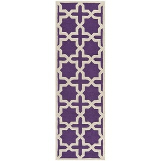 Safavieh Handmade Moroccan Cambridge Purple Wool Rug (2'6 x 10')
