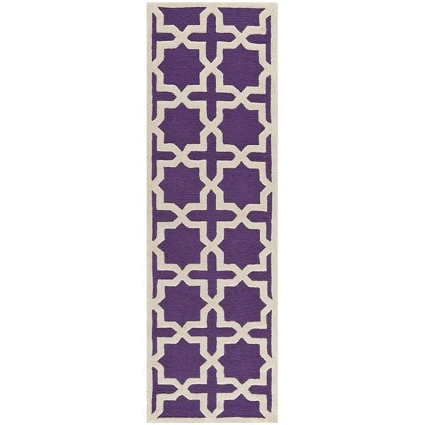 Safavieh Handmade Moroccan Cambridge Purple Wool Rug (2'6 x 6')