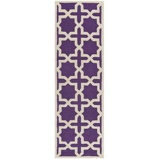 Safavieh Handmade Moroccan Cambridge Purple Wool Rug (2'6 x 8')