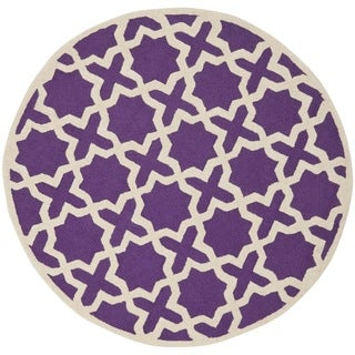 Safavieh Handmade Moroccan Cambridge Purple Wool Rug (6' Round)