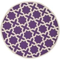 Safavieh Handmade Moroccan Cambridge Purple Wool Rug - 6' x 6' Round