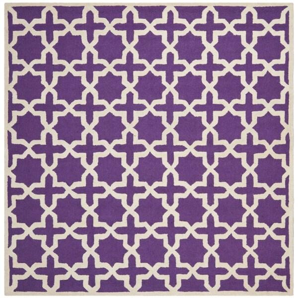 Safavieh Handmade Moroccan Cambridge Purple Wool Rug (8' Square)