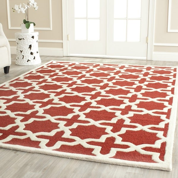 Safavieh Handmade Moroccan Cambridge Rust Wool Rug (9' x 12')