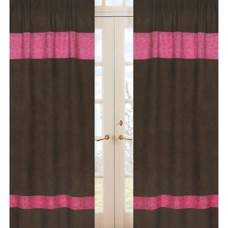 Sweet Jojo Designs Pink, Brown and Cream 84-inch Window Treatment Curtain Panel Pair for Cowgirl Collection
